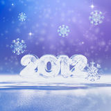 New year 2012. Christmas background with snowflakes and figures 2012 Royalty Free Stock Photo