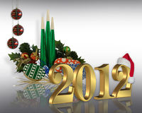 New Year 2012. Image and illustration composition for Christmas, New Years eve, office, or holiday party background with gold numbers 2012 and copy space Royalty Free Stock Image