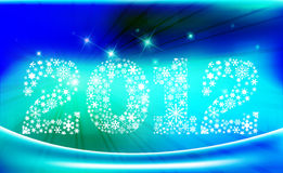 New Year 2012. Design with snowflakes in blue background, vector illustration Royalty Free Stock Images
