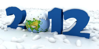 New Year 2012. Number of powdered snow Vector Illustration