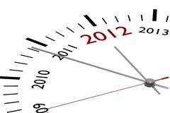 The new year 2012. In a clock Royalty Free Stock Photo