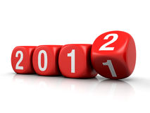 New year 2012. Concept with dice on a white background (3d render stock illustration