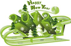 New Year 2012. Christmas illustration in 2012 - a sleigh with Christmas trees in 3D Stock Photos