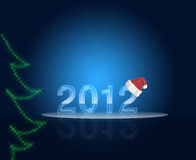 New Year 2012. New Year 2012 and Sana-claus hat Royalty Free Stock Image