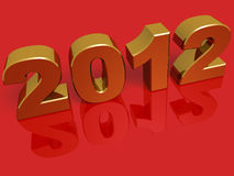New year 2012. In gold over a red background stock illustration
