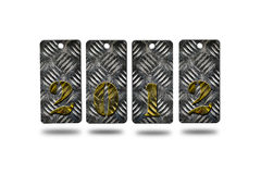 New year 2012. Made from metal sheet on white background Stock Image