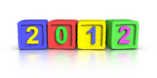 New Year 2012. Made with 3D plasticine material Cubes Royalty Free Stock Photo