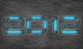 New year 2012. Text with grungy metal effect Stock Images