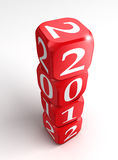 New year 2012 3d red and white dice tower. On white background Stock Photo