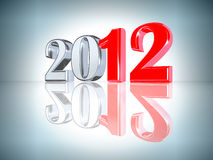 New Year 2012 background. New Year inscription 2012 with a reflection. There is a clipping path Stock Illustration