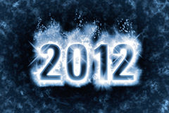 New Year 2012 background. Happy New Year greeting with effect of magic spell, blue energy flames wrapping around digits 2012 in the dark vector illustration