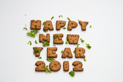 New Year 2012 Biscuits And Leaves Royalty Free Stock Image