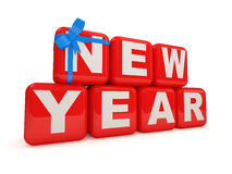 New Year 2012 with bow on white background. 3d Image Royalty Free Stock Image