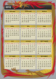 New Year 2012 calendar. 2012  calendar with Chinese dragon Royalty Free Stock Photos