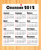 New year 2012 calendar on wooden board Royalty Free Stock Images