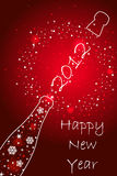 New year 2012 card. New year 2012 red  card with champagne Royalty Free Stock Photos