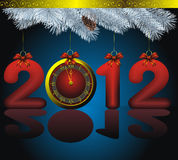 New year 2012 card with golden watch. New year 2012 card as golden watch and blue fir with decorations Royalty Free Stock Image