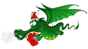 New year 2012 : Cheerful Dragon. Cheerful Dragon in Santa's hat carries the christmas gift (symbol of the new year 2012 Stock Image