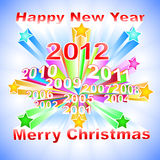 New Year 2012 colorful background. New Year 2012 varicolored background with different years and stars Stock Photography