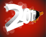 New Year 2012 coming from the big hole. Design for the  christmas card Royalty Free Stock Photos