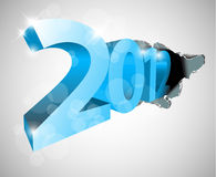 New Year 2012 coming from the big hole. Design for the  christmas card Royalty Free Stock Images