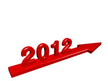 New Year 2012 comming. New Year 2012 numbers on arrow flying, 3d render royalty free illustration