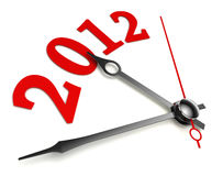 New year 2012 concept clock. Closeup on whte background Stock Photography