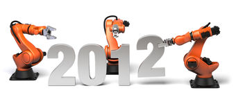 The new year 2012 in construction. Very high resolution 3d rendering of the new year 2012 with industrial robots Stock Photo