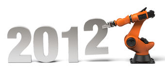 The new year 2012 in construction. Very high resolution 3d rendering of the new year 2012 with industrial robot Stock Photos