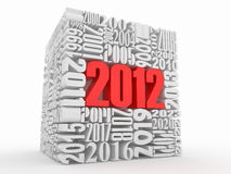 New year 2012. Cube consisting of the numbers. 3d Stock Photography