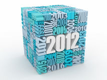 New year 2012. Cube consisting of the numbers. 3d Stock Images