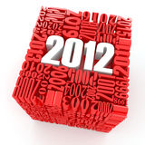 New year 2012. Cube consisting of the numbers. 3d Stock Photo