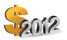 NEW YEAR 2012 and dollar sign. On a white background Stock Image