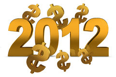 NEW YEAR 2012 and dollar sign Stock Images