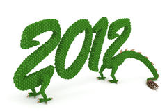 New year 2012 dragon. Year 2012 stylized dragon. Hi-res digitally generated image Royalty Free Stock Images