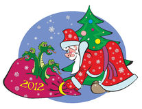 New year 2012, dragon,. Santa Claus and the dragon in the bag royalty free illustration