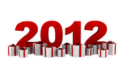 New year 2012 with gift boxes isolated Stock Image