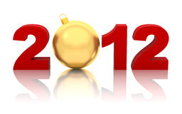 New year 2012 with golden christmas ball. On white Stock Photography