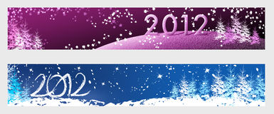 New Year 2012 horizontal banners. For web Stock Photo
