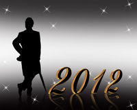 New Year 2012 invitation. 3D illustration for New years eve 2012 greeting card or party invitation with gold numbers and silhouetted well dressed gentleman Stock Images