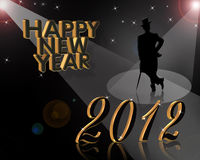 New Year 2012 invitation. 3D illustration for New years eve 2012 greeting card or party invitation with gold numbers and silhouetted well dressed gentleman Royalty Free Stock Image