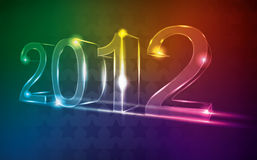 New year 2012 neon card. With star background Royalty Free Stock Photography