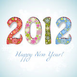 New year 2012 number. Decorative 2012 figures snowflakes pattern Royalty Free Stock Photo