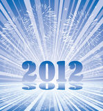 New year 2012 numbers with fireworks. And rays of light, vector Royalty Free Stock Photos