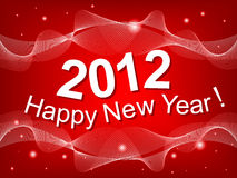 New Year 2012 red background. With curved lines and glowing balls Stock Images