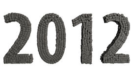 New Year 2012 stones. 3d render Royalty Free Stock Photography
