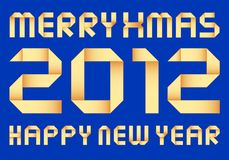 New year 2012, vector origami Royalty Free Stock Photo