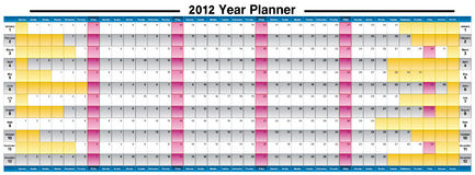 New Year 2012 year planner Royalty Free Stock Image