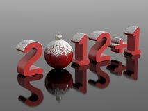 New year 2013, 2012+1. New year 2012+1 (2013) in snowy numbers with a christmas ball on a reflective black surface Royalty Free Stock Photo