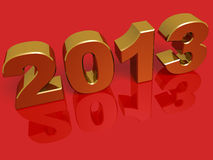 New year 2013. In gold over a red background Royalty Free Stock Photos